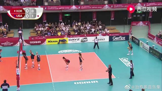 比赛集锦:女排世界杯最后一轮,美国女排3-1韩国女排