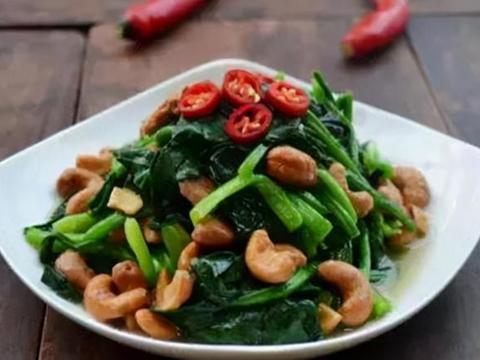 美味家常菜:菠菜拌腰果,拌杏鲍菇丝,青笋炒肉丝