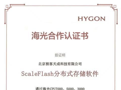 聚焦国产芯片极客天成ScaleFlash与海光完成产品兼容性认证