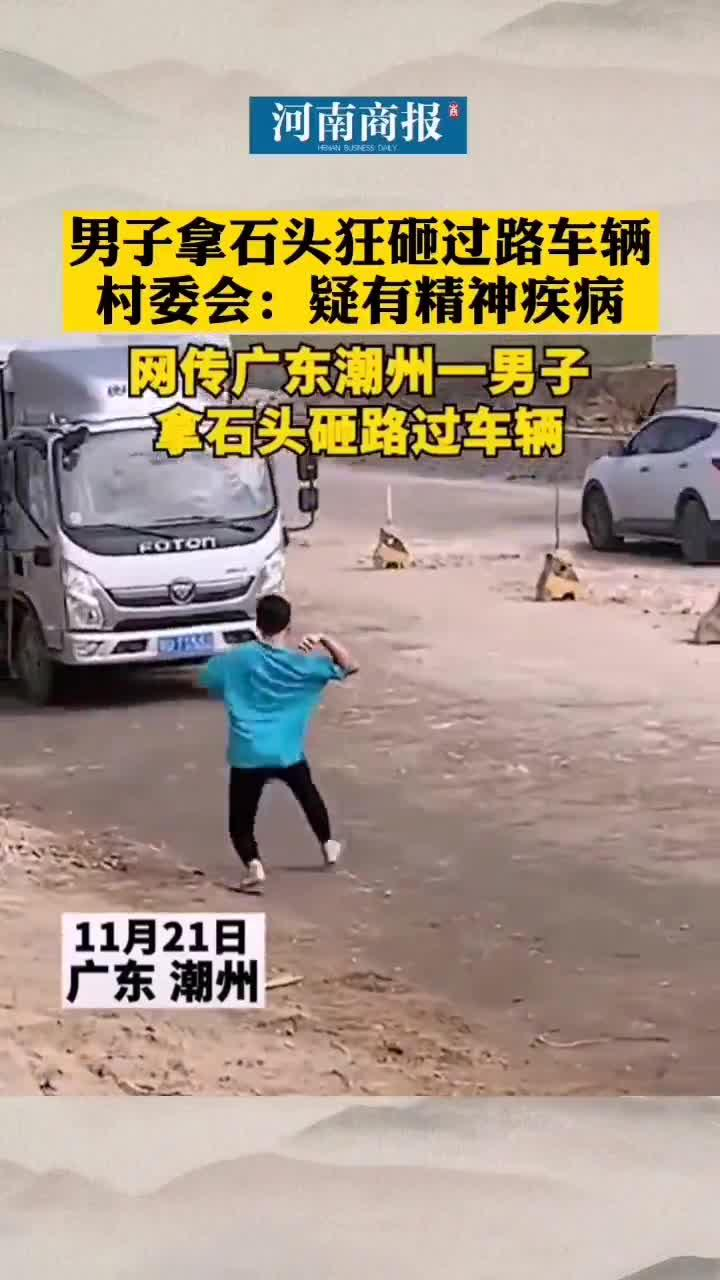 男子拿石头砸过路车辆,村委会:疑有精神疾病,已报警