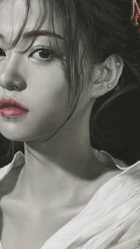 刘斌老师炭笔淡彩画《穿和服の少女》