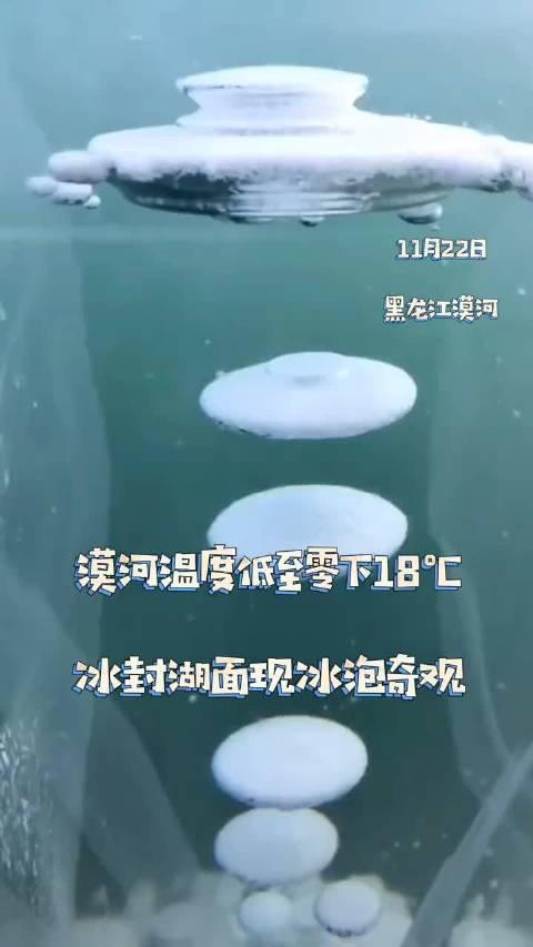 黑龙江罕见!漠河冰封湖面现冰泡奇观温度低至零下18℃