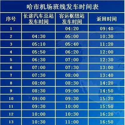 今日起,大庆至哈市机场班线部分班时有调整!
