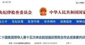 中央纪委国家监委:二十国集团领导人就加强反腐败合作达成共识