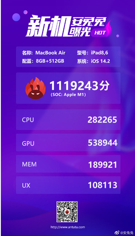 Apple M1芯片安兔兔跑分曝光:分数超110万 打破安兔兔记录