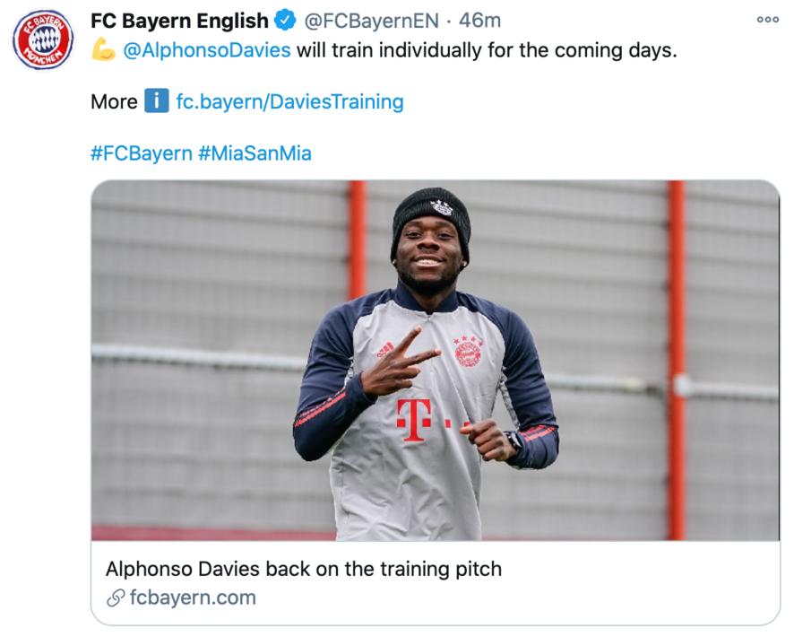 拜仁官方:阿方索-戴维斯恢复训练