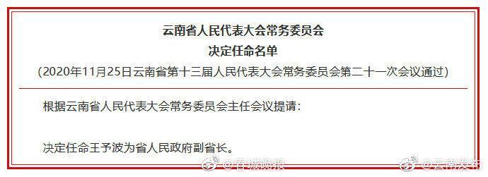 省人大常委会会议决定王予波为省人民政府副省长、代理省长