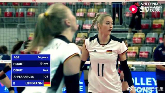 利普曼!德国女排接应,球速能轻松破百,19-20赛季效力上海女排