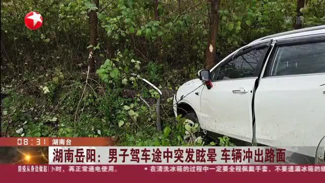 湖南岳阳:男子驾车途中突发眩晕  车辆冲出路面