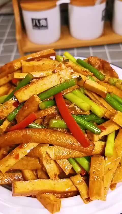 豆干炒蒜苔