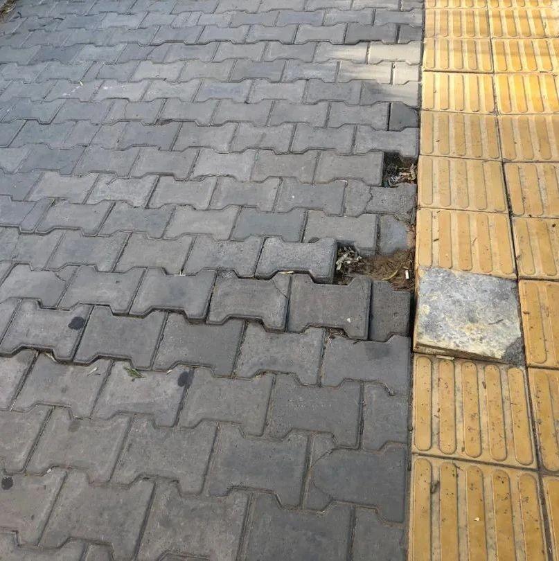 创建曝光台 | 盼维修!榆林高新三小门口人行道破损