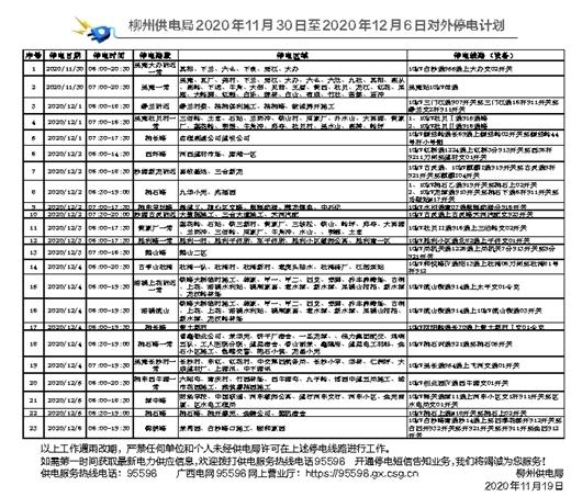 柳州供电局2020年11月30日至2020年12月6日对外停电计划