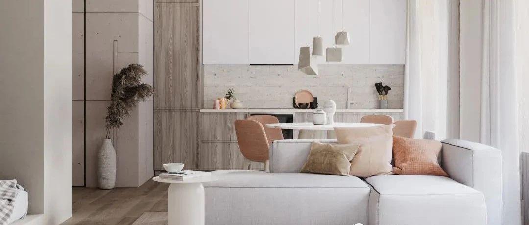 34㎡迷你公寓,用灰泥、木材、陶瓷做出高级感!