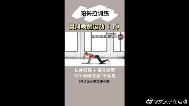 帕梅拉清晨唤醒训练,简单拉伸运动,新手舒缓肌肉