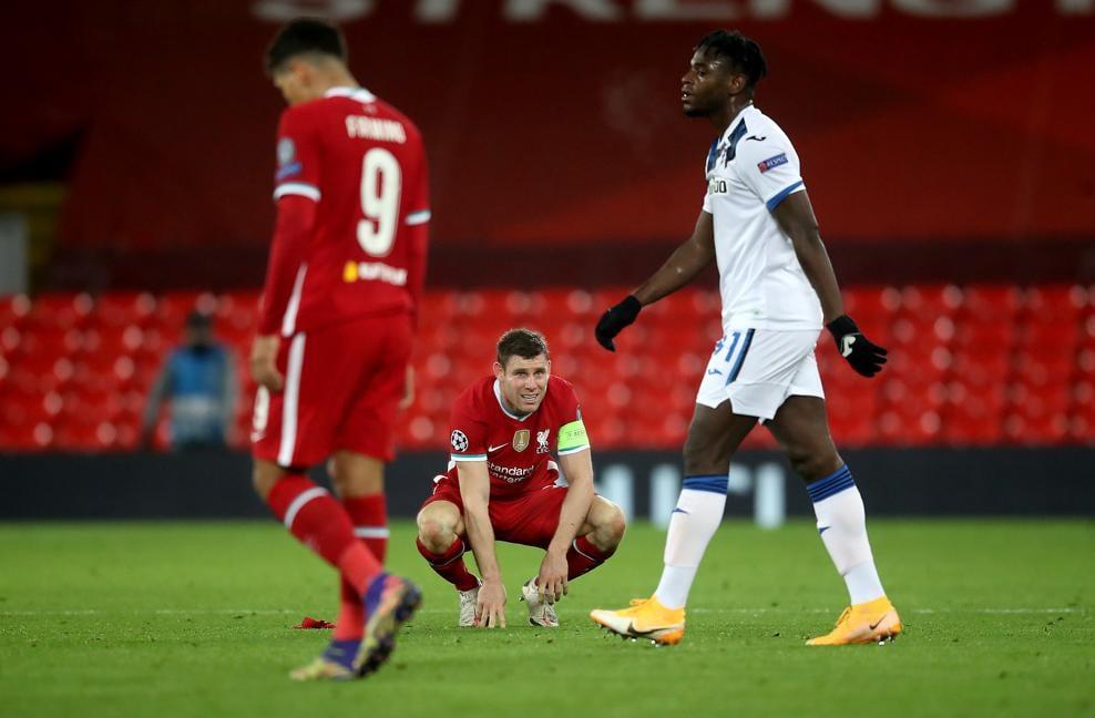 欧冠小组赛第四轮利物浦队主场0:2负亚特兰大队