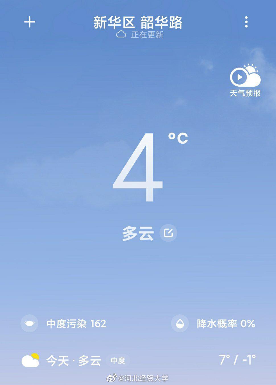 今天天气多云,空气中度污染,大家出门记得佩戴口罩