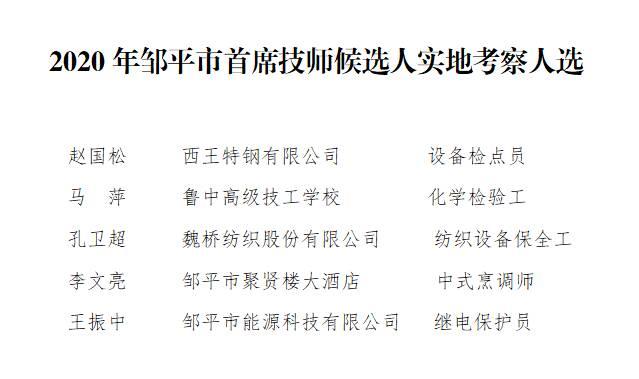 2020年邹平市首席技师候选人实地考察人选公示