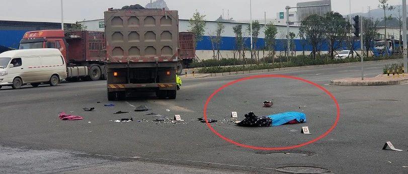 悲剧!海吉星附近大货车撞倒电动车,骑手不幸身亡!网友:路口一直闪黄灯