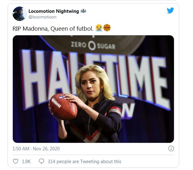 """错的离谱!外媒:马拉多纳去世后,推特上""""麦当娜去世""""消息却""""炸锅"""""""