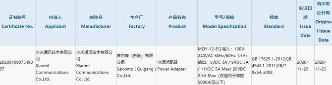 小米新款充电器获3C认证:最高支持55W快充