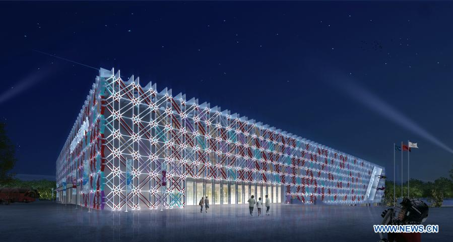 Photo shows the effect picture of Beijing Wukesong Ice Hockey Sports Center in Beijing, China. The construction of Beijing Wukesong Ice Hockey Sports Center was completed on Thursday. (Xinhua)