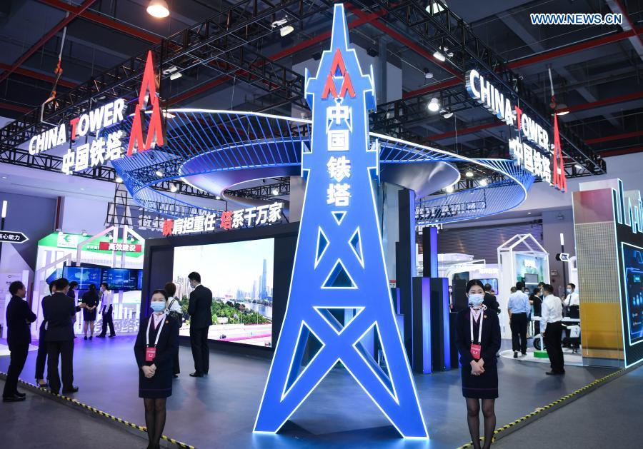Photo taken on Nov. 26, 2020 shows the booth of China Tower at a 5G-themed exhibition held during the World 5G Convention in Guangzhou, south China's Guangdong Province. The 2020 World 5G Convention kicked off in Guangzhou Thursday, during which world-renowned infocom scientists, 5G service providers and 5G application adopters will exchange ideas on aspects of cutting-edge technologies, industrial development trends and innovative applications in 5G industry. (Xinhua/Deng Hua)