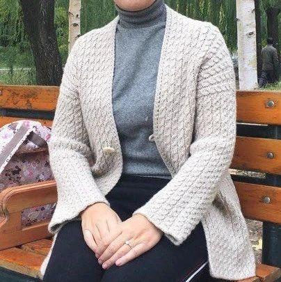 叙事曲:文艺优雅的秋季女士羊绒棒针外套(有编织图解)