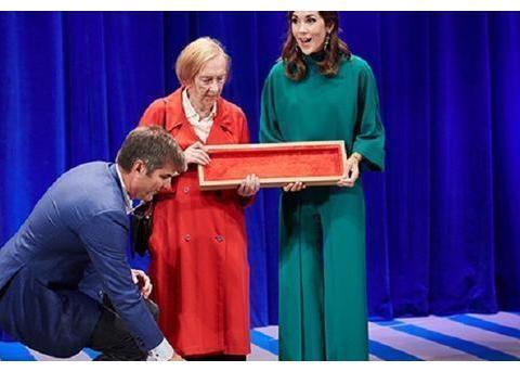 王室的尴尬,玛丽王妃把奖品掉在地上,在索菲亚台阶上绊倒
