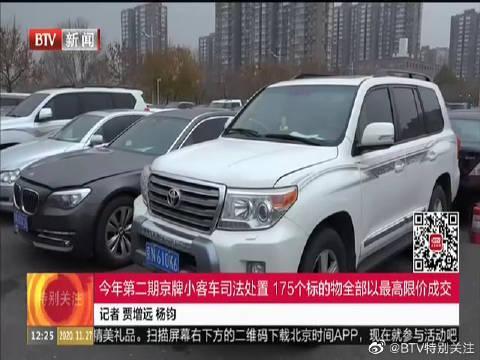 今年第二期京牌小客车司法处置 175个标的物全部以最高限价成交