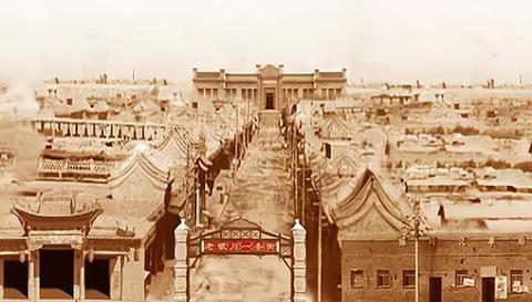老照片:上世纪的宁夏银川市,中山公园,大礼堂,金凤凰电影院