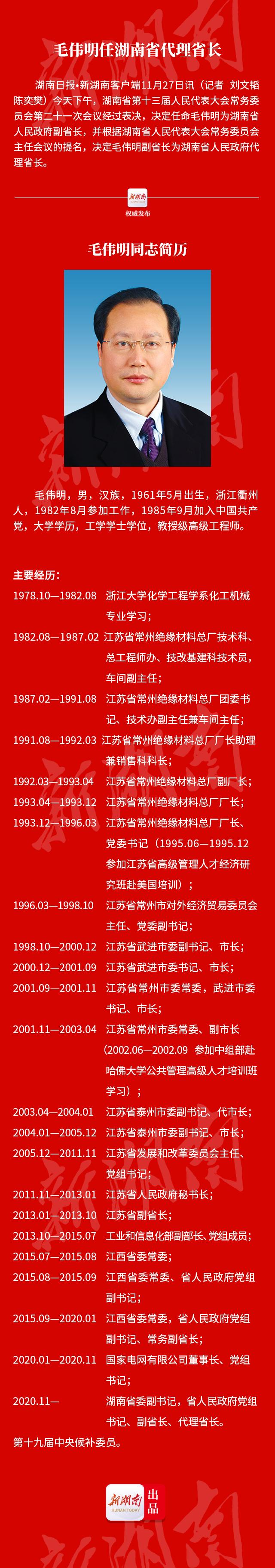 毛伟明任湖南省代理省长图片
