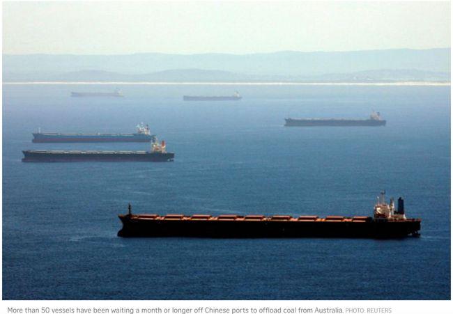 滞留中国沿海澳洲运煤船增至80多艘 澳煤炭对华出口骤降96%