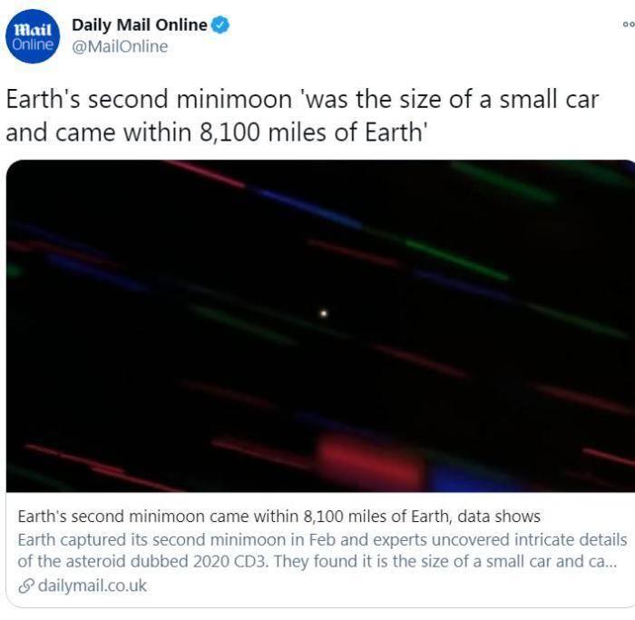 """科学家发现第二颗""""迷你月球"""",有小汽车那么大"""