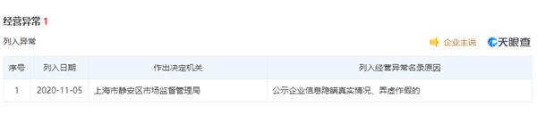 王思聪上海香蕉计划公司被列入异常名录:涉嫌弄虚作假