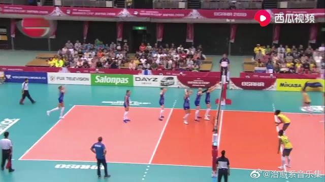比赛集锦:女排世界杯最后一轮,俄罗斯女排1-3不敌巴西女排