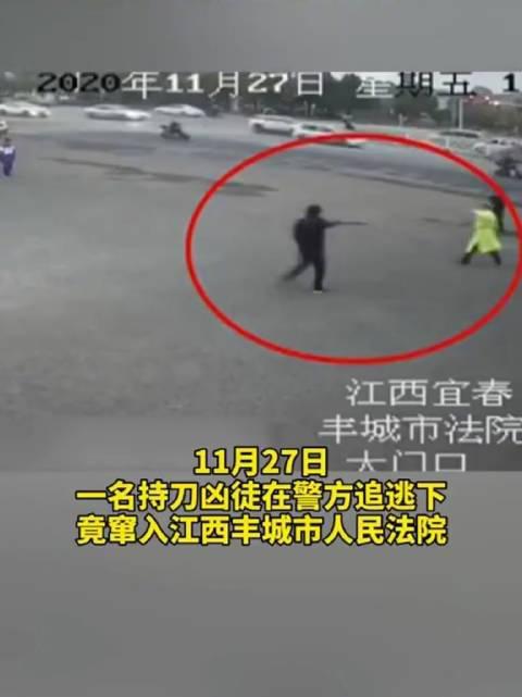 自投罗网!一名持刀凶徒在警方追逃下,竟窜入法院……