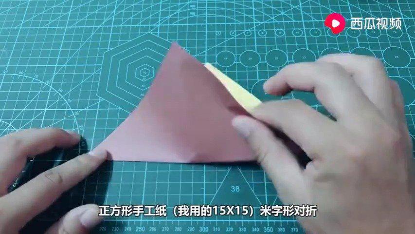 立体花瓶折纸,还可以当收纳盒,放在桌子上漂亮又实用!