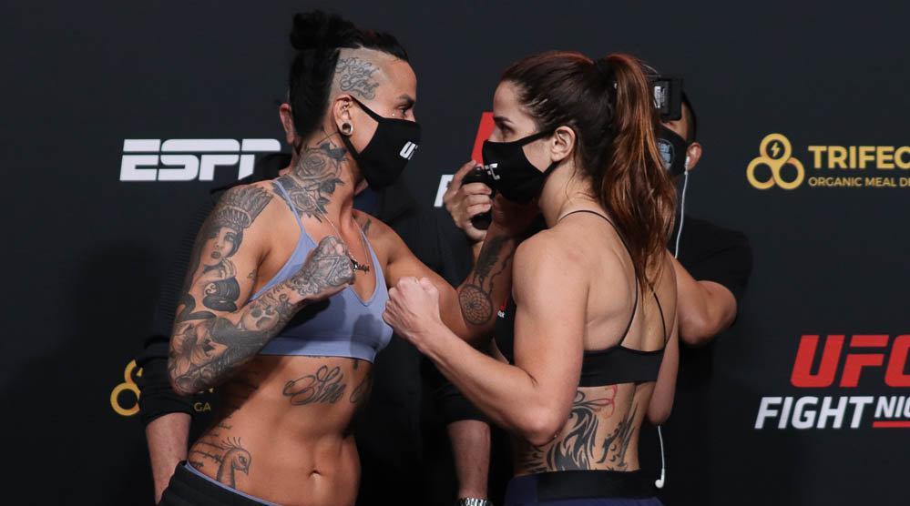 UFC ESPN 18称重及对视,诺玛·杜蒙特139.5磅…………