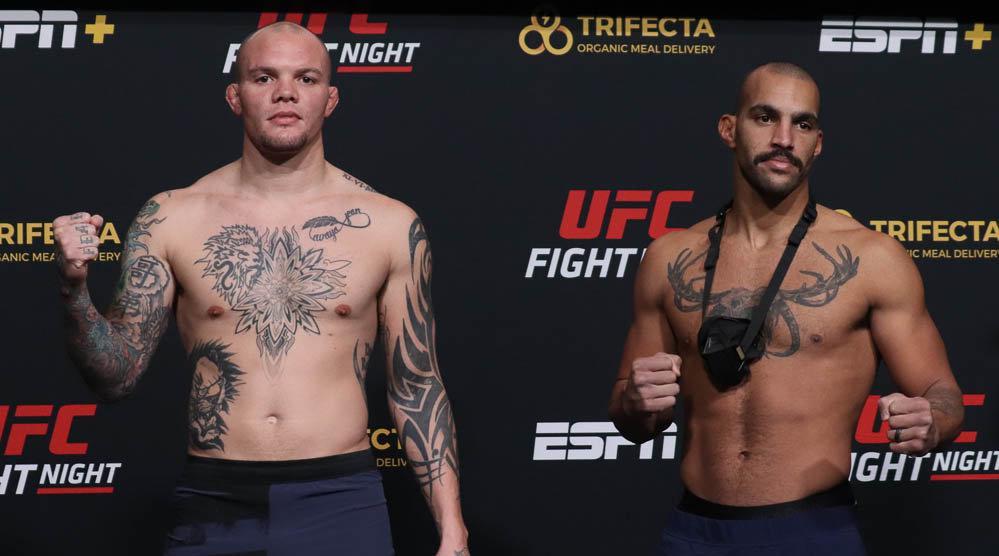 UFC ESPN 18称重及对视,狮心安东尼·史密斯205磅…………