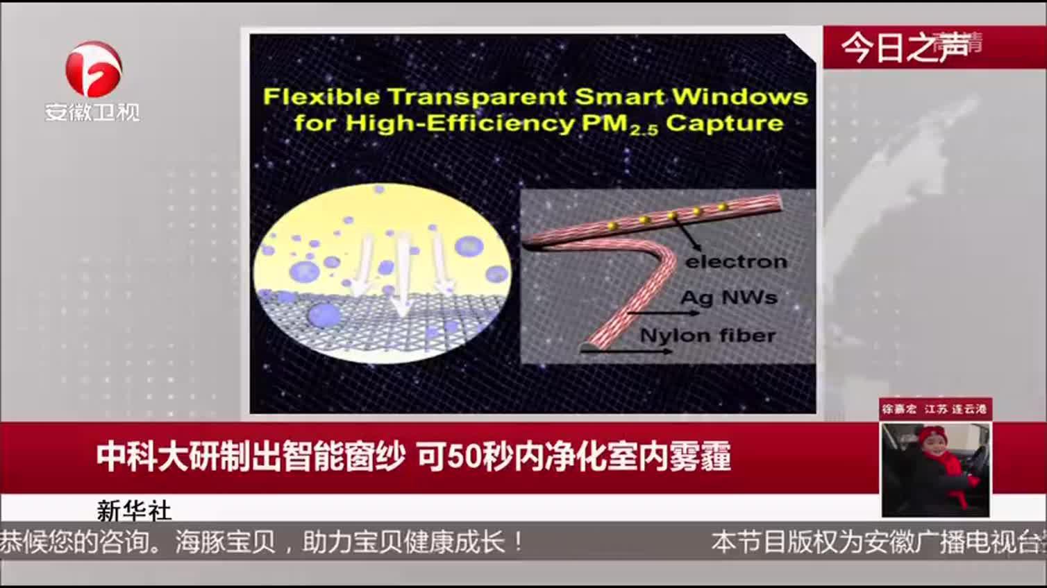 新华社:中科大研制出智能窗纱 可50秒内净化室内雾霾