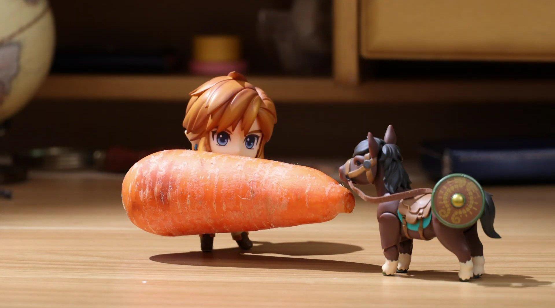 《塞尔达传说》趣味定格动画:林克给马喂胡萝卜……