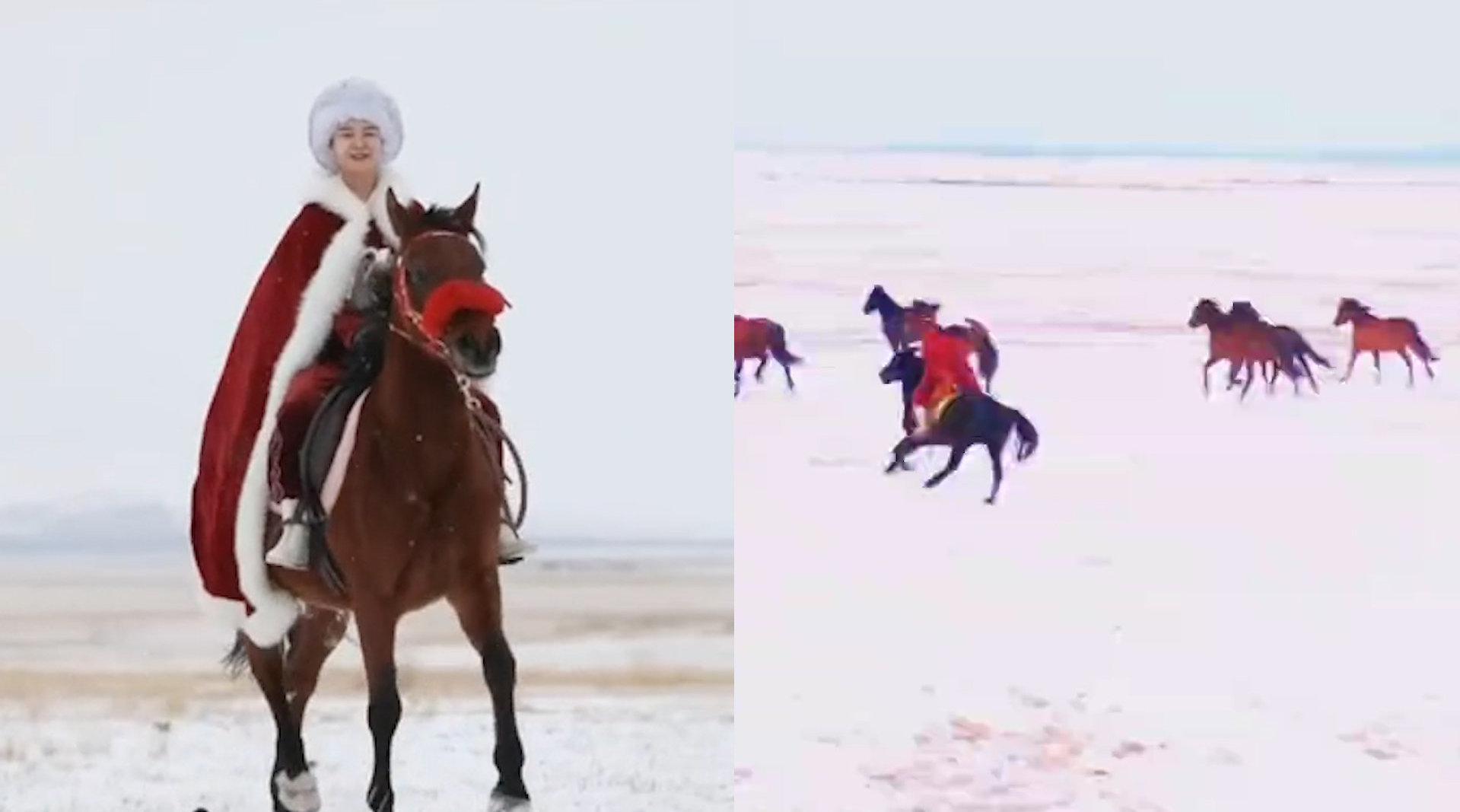 女副县长策马为当地旅游代言 :当天很紧张,鞋子冻得像冰块