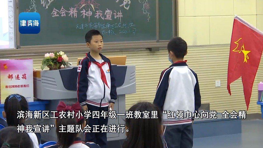 滨海新区工农村小学:红领巾心向党 全会精神我宣讲