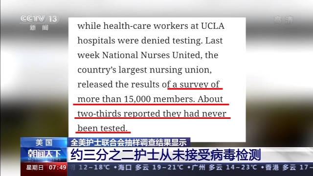 美国约2/3护士从未接受新冠病毒检测