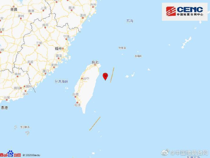 台湾花莲县海域发生4.4级地震 震源深度32千米图片