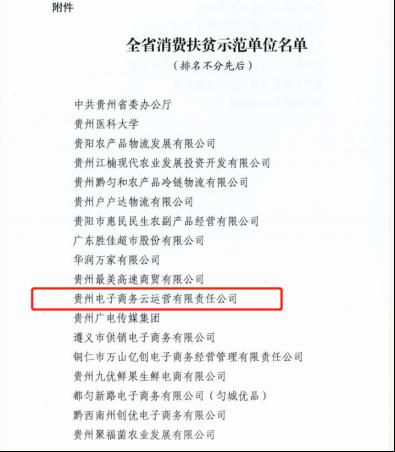 """贵州电子商务云运营有限责任公司入选""""全省消费扶贫示范单位"""""""