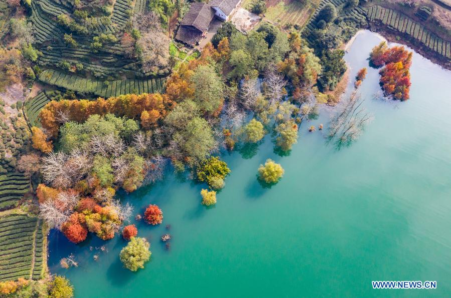 Aerial photo taken on Nov. 29, 2020 shows the winter scenery of the reservoir bank at Three Gorges area in Lanlingxi Village of Zigui County in Yichang, central China's Hubei Province. (Photo by Zheng Jiayu/Xinhua)