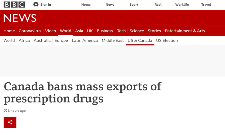 特朗普政府想大批进口加拿大低价处方药,被加拿大紧急叫停!