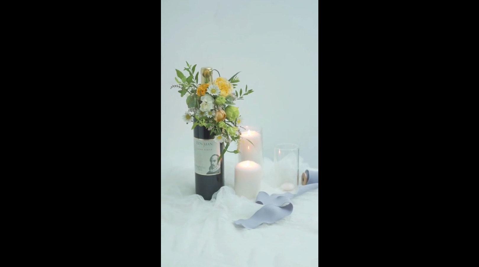 如何用花艺装饰酒瓶,生活需要仪式感。 来源:花栖花艺