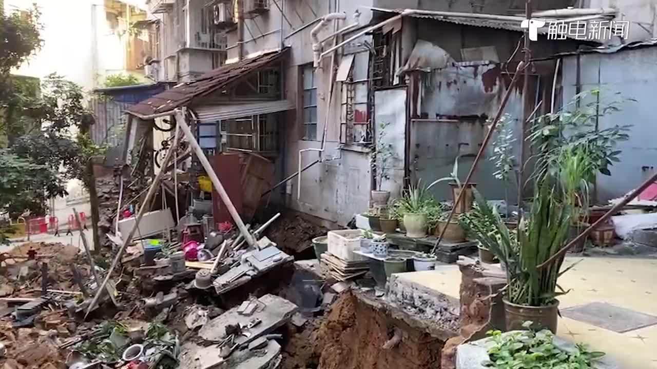 广州一社区墙体突发坍塌,事发前正进行排污管道维修